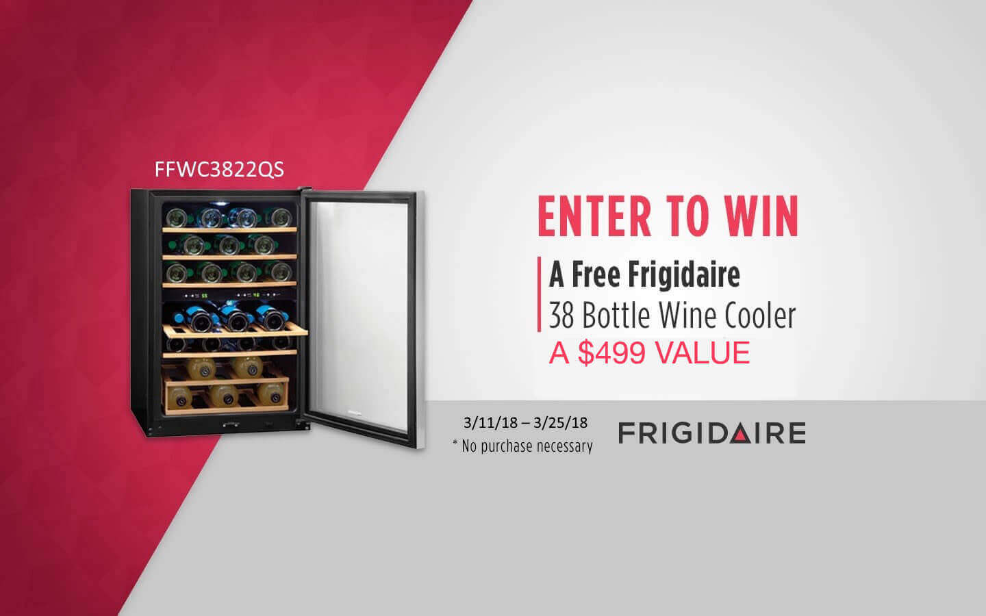 Enter to win a free Frigidaire 38 bottle wine cooler a $499 value.